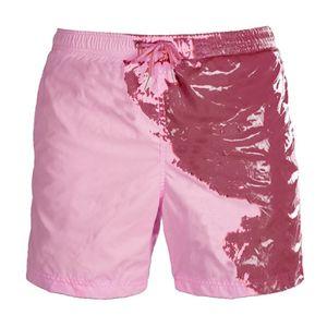 Herren Aquarellwechsel Badehose Strandhose Warme Farbwechsel Shorts Größe:XL,Farbe:Gelb