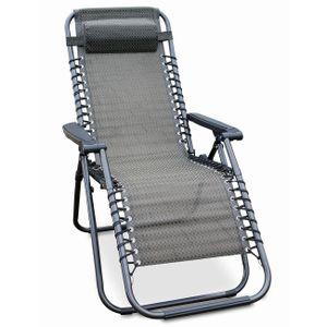 Relax-Sessel mit Kopfkissen, Stufenlos verstellbar, Farbe: Schwarz/Taupe