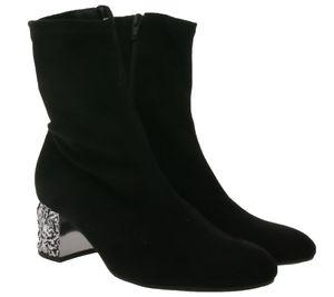 Gabor Stiefelette außergewöhnlicher Damen Ausgeh-Schuh in Velour Schwarz, Größe:35