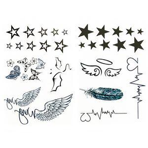Oblique Unique 34 Stk Temporäre Tattoos Klebetattoo Tättowierung - Sterne Flügel ...