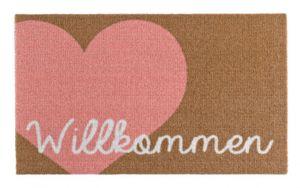 Fußmatte Schmutzfangmatte Willkommen Herz Rosa Braun 50x70 cm