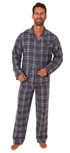 Herren Flanell Pyjama Schlafanzug langarm zum durchknöpfen - 291 101 15 535, Farbe:anthrazit, Größe:48