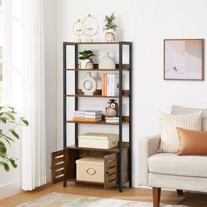 VASAGLE Bücherregal, 64 x 28,6 x 147,3 cm, Aufbewahrungsschrank, Industrie-Design, mit 2 Lamellentüren, 4 Ablagen, multifunktionell, vintagebraun-schwarz LSC601B01