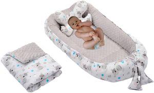 Baby Nestchen + Kissen und Decke Minky 3tlg Kokon Nest Babynest Reisebett Wickelauflage Babydecke Kuschelnest XXL 110x60 cm Grau/Teddy