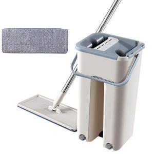 KCASA Wischmop-Set Haushalt drehen Handmop + Moppeimer mit 1 Stück Moppflegetuch