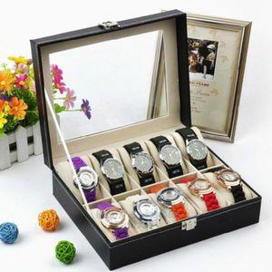 Leder Uhrenbox Uhrenkoffer Schmuckkästchen Uhrentruhe Uhrenkasten Uhrenschatulle Uhren-Aufbewahrungsbox für 10 Uhren
