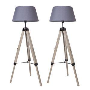 2x Stehlampe Tripod Stehleuchte Wohnzimmerlampe, Standleuchte für Wohnzimmer, Schlafzimmer E27- Grau