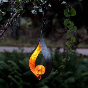 LED Solar Dekoleuchte MELILLA - orangene Kugel - zum Hängen - Lichtsensor - H: 31cm B: 18cm