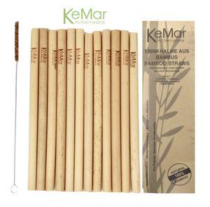 KeMar Kitchenware Trinkhalme Strohhalme Bambus Naturbelassen | 12 Stück | 20 cm