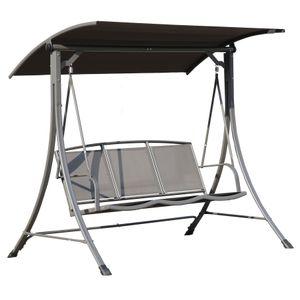 Angel Living Hollywoodschaukel Gartenschaukel 3 Sitzer mit Sonnenschutz aus Stahl (Grau)