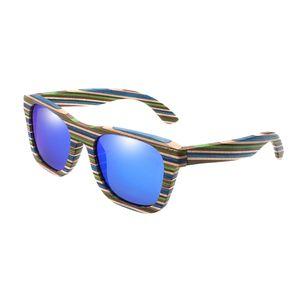 1 Stück Hochwertig Holz Holzbrille Sonnenbrille UV400, Uni Damen und Herren Brille mit Bambus Bügeln Farbe Blau