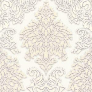 Livingwalls Barocktapete Metropolitan Stories Tapete mit Ornamenten Lizzy London Vliestapete mit Glitzereffekt weiß silber beige 10,05 m x 0,53 m