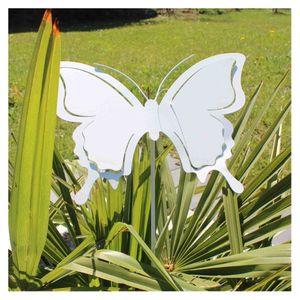 Schmetterling Gartenstecker L88cm Blumenstecker Gartendeko Edelrost oder weiß, Farbe:weiß