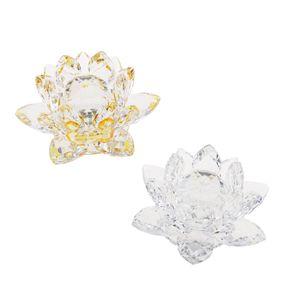 Kristall Lotus Blume Handwerk Briefbeschwerer Feng Shui Nachbildung Liebe Heilige 001 wie beschrieben Transparent + Gelb