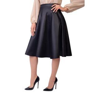 Krisp Damen Midi-Skirt, Kunstleder KP119 (42 DE) (Schwarz matt)