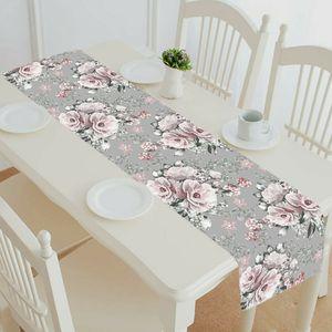 ECZJNT rosa Blüten und Blätter auf grauer Tischläufer Tischdecke Teetischdecke 35x180 cm