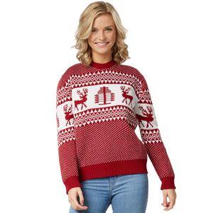 dressforfun Weihnachtspullover Winterwunderland rot-weiß für Frauen - M