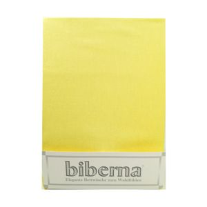 Biberna 02744 Feinbiber-Spannbettlaken Deluxe 100 x 200 cm, Farbe:Gelb, Grösse:100 cm x 200 cm