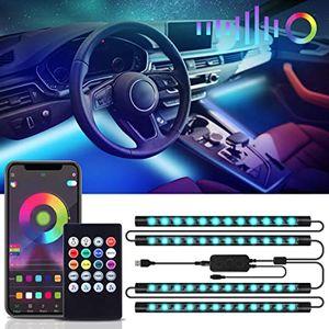 Auto Led Innenbeleuchtung  48 Leds RGB Autozubehör Innenraum Strips 4pcs 6.2 Meter mit Bluetooth App LED Ambientebeleuchtung Auto Strip USB Port und Musik Steuerbar LED Strip Atmosphäre Licht