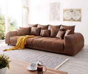Bigsofa Violetta Braun 310x135 cm Antik Optik inklusive Kissen Big-Sofa