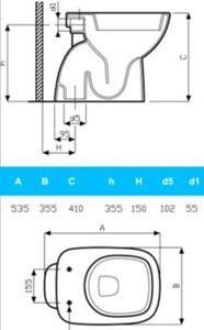 Ceravid Cavea Stand WC Tiefspüler, Abgang innensenkrecht, weiß alpin, C48111000