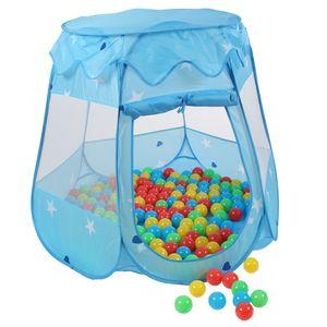KIDUKU® Kinderspielzelt Blau mit 100 Bällen und Tasche Spielhaus Bällebad Schloss für drinnen und draußen
