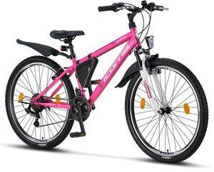 Licorne Bike Guide Premium Mountainbike in 20, 24 und 26 Zoll - Fahrrad für Mädchen, Jungen, Herren und Damen - Shimano 21 Gang-Schaltung, Farbe:Rosa/Weiß, Zoll:26