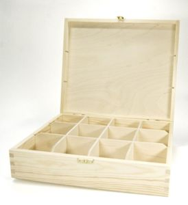 Teekiste, Teebox, Teebeutel-Box Holz, 12 Fächer, Kiefer unbehandelt