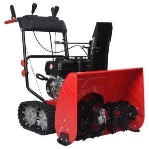 vidaXL Zweistufige Schneefräse Rot Schwarz Kunststoff 196 cm³ 6,5 PS