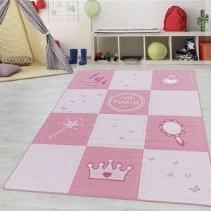 Teppium Kinderteppich, Kinderzimmerteppich, Prinzessin Krone Zauberstab, Rechteckig PINK, Farbe:PINK,140 cm x 200 cm