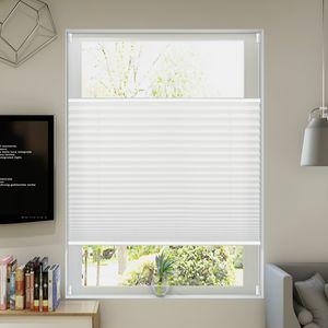 Allesin Plissee Klemmfix Plisseerollo ohne Bohren (80x120cm Weiß) Faltrollo Jalousie Sonnenschutz und Sichtschutz für Fenster & Tür