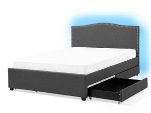 Polsterbett Grau 180 x 200 cm 4 Schublade Leinenoptik Mit Bettkasten LED Beleuchtung Verziehrte Kopfteil Klassisch
