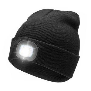 Unisex warme LED-Licht batteriebetriebene Beanie Hat Cap für Outdoor-Jagd Camping schwarz