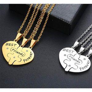 Freundschaftsketten für 3: Best Friends Herz & Puzzle Anhänger mit Kette, Farbe:Silber