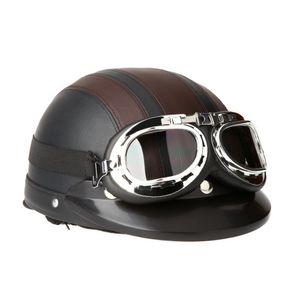 Motorrad Roller Open Face halbes Leder-Helm mit Visier UVschutzbrille Retro Vintage Style 54-60cm