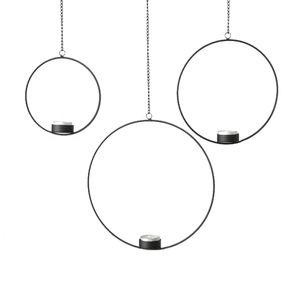 3tlg. Teelichthalter CIRCLE schwarz aus Metall zum Hängen Metallkreis (3 Größen)