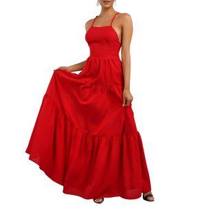 Frauen Sexy Partykleid Maxikleid Halfter Ärmellos Langes Kleid Sommerkleid, Rot, XL
