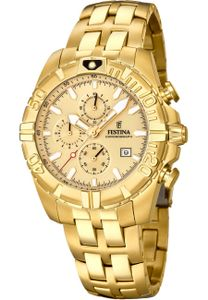 Festina F20356/1 Chronograph Uhr Herrenuhr Edelstahl Chrono Datum Gold