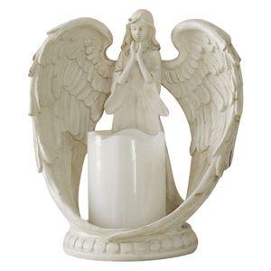 LED-Tee licht Kerzenhalter Sympathie Geschenk, Flackernde LED-Kerzen ständer, Engels figuren Statue Harz Skulptur Kerzenhalter Heim tisch Mittelstücke Größe 21x21cm