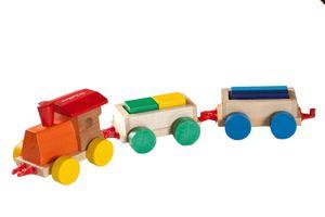 Eichhorn Lok Lokomotive mit 2 Wagons und Bauklötzen, Holzzug, Holzspielzeug