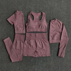 Nahtlose Damen Yoga Anzug Workout Sportswear Workout Kleidung Fitness Langarm Kurzes Oberteil Hohe Taille Leggings Sportanzug