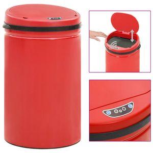 beraes Automatischer Sensor-Mülleimer 40 L Kohlenstoffstahl Rot