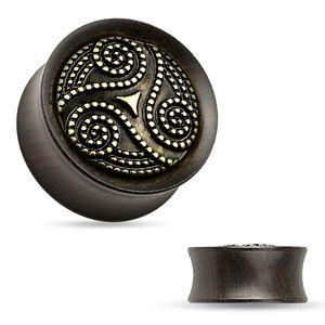 Holz Plug Ohr Piercing Sattel Saddle Fit Double Flared Organic Ear Tube Ebenholz Ebenholz / dunkelbraun 8 mm