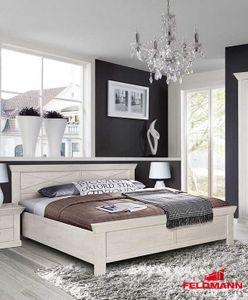 Bett 180x200cm pinie weiß Landhaus Bettgestell Doppelbett Ehebett