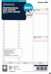 Filofax Kalendereinlage A5 Multifit Professional: Eine Woche auf zwei Seiten 2021 deutsch mit Uhrzeiten