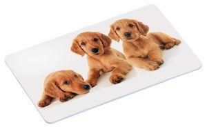 """Kesper Nachbildung-Frühstücksbrettchen """"Puppies"""", aus Melamin, 23,5 x 14 x 0,4 cm, mit 4 rutschfesten Füßchen, mit Welpenmotiv"""