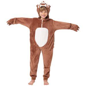 Corimori (viele Designs) Henry das Faultier Kinder Onesie Jumpsuit Kostüm, Jungen & Mädchen (Gr. 90-110cm) Braun-Creme