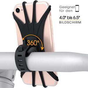 Fahrrad Handyhalterung, Silikon Handyhalter Fahrradlenker Motorrad für 4.0 bis 6.5 Zoll Smartphones Schwarz