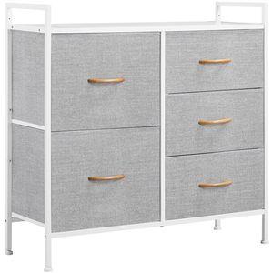 Yaheetech Schubladenschrank mit 5 Schubladen Kommode Stoffschrank 83 x 29 x 82 cm Garderoben Aufbewahrung Grau