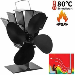 Melario 4 Flügeliger Ofenventilator Kaminlüfter Ofenlüfter mit Griff Kamin Ventilator